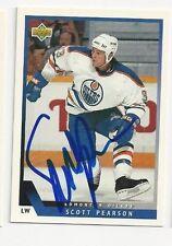 93/94 Upper Deck Autographed Hockey Card Scott Pearson Edmonton Oilers