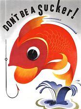 Impresión arte cartel Dibujo Anzuelo colorido Ventosa Guerra mensaje nofl0612