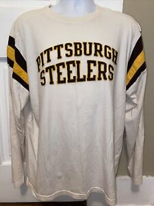 PITTSBURGH STEELERS Shirt Long Sleeve WOMEN'S LRG REEBOK GRIDIRON CLASSIC VTG