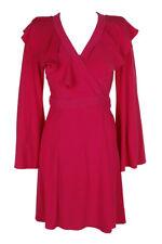 Taylor Fuchsia Long-Sleeve S Ruffled Front Wrap Dress 12