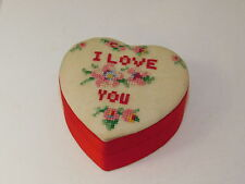 Vintage Hand Made Petit Point I Love You Heart Red Satin Trinket Box