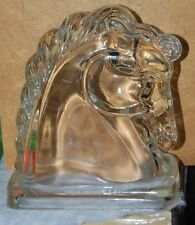 2 Vintage Federal GLASS HORSE HEAD Book Ends Candy Equestrian Paperweight
