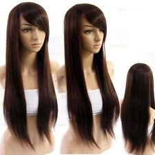 """32"""" Dark Brown Long Women Straight full wig/wigs like real Hair+free wig cap"""