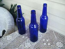 3 Cobalt Blue Glass Bottles Beer Herb Vinegar Wine Crafts Garden Tree Yard Art B