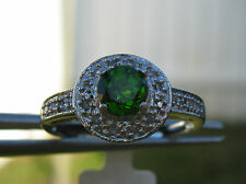 10k .82ctw  FLAWLESS-VVS TSAVORITE GREEN GARNET w/ DIAMONDS, WHITE GOLD, SIZE 7