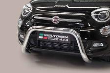PROTEZIONE ANTERIORE SUPER BULL BAR OMOLOG. INOX D.76 PER FIAT 500 X  2015 >.