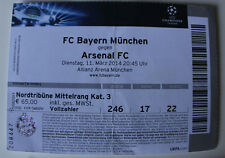 Ticket for collectors CL Bayern Munchen Arsenal FC 2014 Germany England