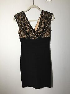 adrianna papell Womens Black And Nude Lace Bodycon Dress Size US 6 Aus 10