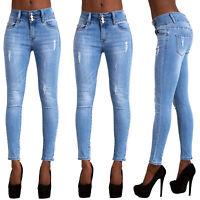 Women Faded Blue Jeans Denim Ladies Sexy 3 button Skinny Leg Jeans Size Uk 6-14