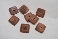 8pc 25mm Dark Copper Square Jacket Coat Cardigan Knitwear Button 3631