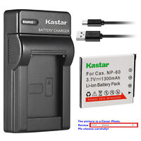 Kastar Battery Slim Charger for Casio NP-60 BC-60 & Casio Exilim Zoom EX-Z80