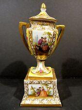 Superb Antique Hand Painted Pedestal Urn Helena Wolfsohn Dresden Gold Gild Lover