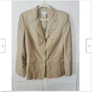 Ann Taylor Women's Long Sleeve Blazer Jacket Tan Career Wool Size 10