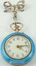 Antico Swiss Blu Smaltato Fob Orologio con sospensione Fiocco Spilla funzionante