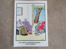 """Vintage """"The FAR SIDE"""" 1985 Greeting Card """"Is The Cute Siamese Friendly?"""" NEW"""