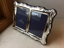 Carrs of Sheffield 925 Solid Silver DOUBLE photo picture frame, 3.5 X 2 TWO PICS