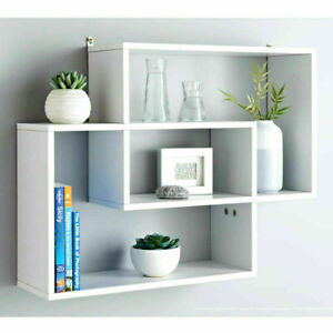 Lokken White Space Saving Multi Compartment Floating Wall Shelves Display Shelf