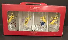 POTTERY BARN CHRISTMAS REINDEER GLASSES, SET OF 8~DASHER, DANCER, ...