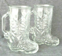 Set of 2 Cowboy Boot Clear Glass Mugs Mexico Rodeo Spurs Boots Western 6.5""