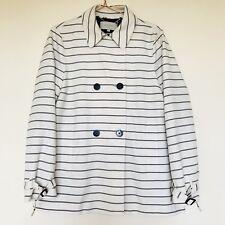 HOBBS Striped Pin Stripe Navy White Peacoat Trench Coat Jacket - UK 14