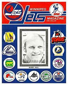 WHA 1973 - 74 Winnipeg Jets Program Bobby Hull & Team Logo's Cover 8 X 10 Photo
