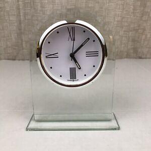Howard Miller Regent Table Clock 645-579 Glass Arch & Quartz Alarm Movement