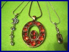 3 x edle Halsketten mit Strassanhänger versch. Designs NEU     ( D105)