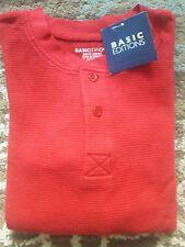 NWT Boys Long Sleeved Waffle Thermal Shirt Sz 4 / 5 Dark Apple Red Basic Edition