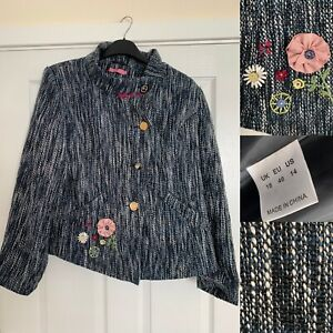 JOE BROWNS Tweed Boucle Floral Embroidered Jacket Blazer Size UK 18 Blue White