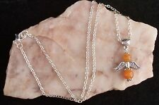 Red Aventurine Guardian Angel Pendant,925 Silver Plated Chain Necklace.Handmade