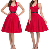 50s Vintage Women Retro Rockabilly Red Swing Dress Pinup Housewife Party Evening