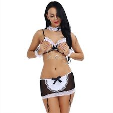 Sexy Women's Open Bra Costumes French Maid Cosplay Fancy Dress Lingerie Outfits