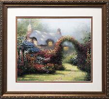 "Thomas Kinkade ""Glory of Morning"" New CUSTOM FRAMED Art Print Rose Arch LIGHT"