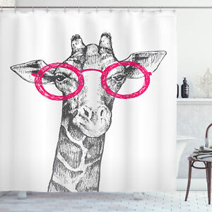 Funny Shower Curtain Hipster Animal Glasses Print for Bathroom
