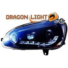 LHD Projector Headlights Pair LED Dragon Clear Black H1 H1 For VW Jetta II 03-On