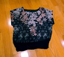 Maurices short sleeve sheer black floral career shirt small