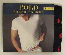 3 POLO RALPH LAUREN S M L XL SLIM FIT COTTON BLACK WHITE BLUE V NECK T SHIRTS