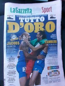 Gazzetta Dello Sport 02/08/21  Jacobs Tamberi medaglia oro Olimpiadi Tokyo 2020