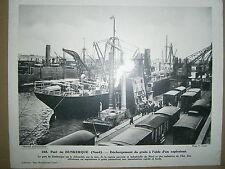 Gravure Port de Dunkerque déchargement cargo de grain à l'aide d'un aspirateur