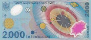 UNC 1999 Romania 2,000 Lei Polymer Note, Pick 111a