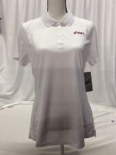 Asics POLO SHIRT Women's Athletic Shirt, White, Size L, Retail $46
