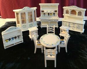 Hand Painted Miniature Wooden Dining Room Dollhouse Furniture Vintage
