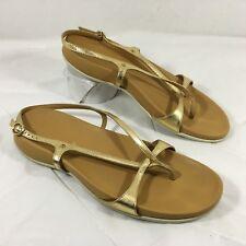 EUC Women's Hogan Gold Leather Slingback Thong Sandals Sz 41 US 11