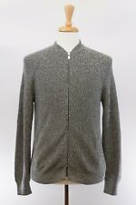 NWT$1025 Brunello Cucinelli Men Thick Knit Logo Zip Engraved Cardigan 50/40 A176