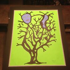 2002 Artist Signed Miklos Emhecht Large Painting Lime Green Tree Blue Face