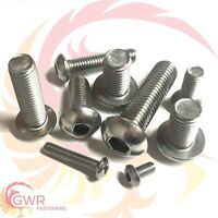 M6 M8 M10 M12 BUTTON HEAD SCREWS ALLEN SOCKET BOLTS A2 STAINLESS STEEL GWR FAST