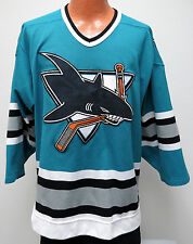 vtg SAN JOSE SHARKS CCM Center Ice Jersey sz 44 Fight Strap pro style 90s teal L
