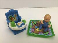 Fisher Price 2000's Loving Family Dollhouse Baby Chair w Tray Boy Baby Mattel