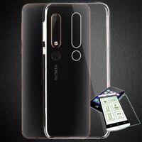 Funda de Silicona Bolsa Transparente + 0,26 H9 Vidrio Templado para Nokia 7.1