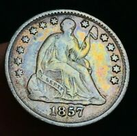 1857 Seated Liberty Half Dime 5C High Grade Toned XF Date US Silver Coin CC2349
